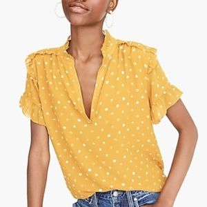 J. Crew Point Sur Painted Dot Ruffle Sleeve Top